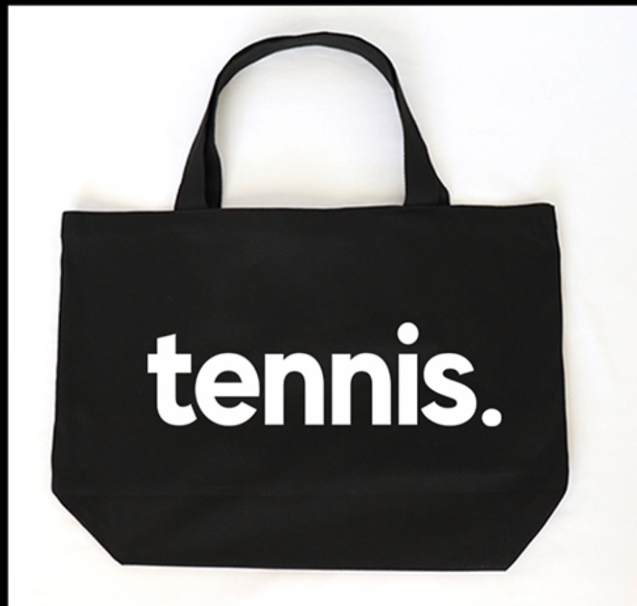 "TENNIS. BLACK CANVAS TOTE with ""IT ALL STARTS WITH LOVE"" on back."