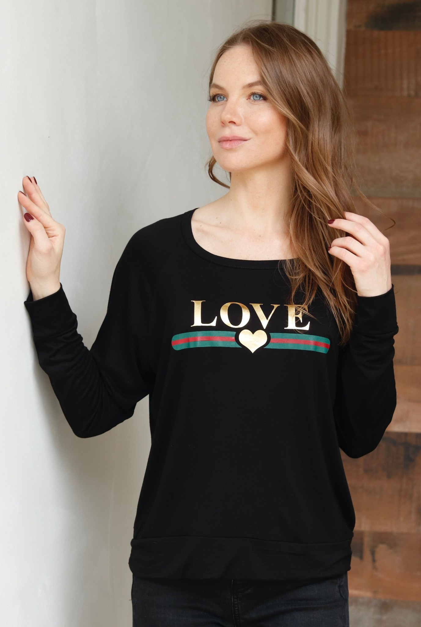 LOVE GUCCI WITH GUCCI INSPIRED STRIPE L/S OTS TOP with GOLD FOIL HEARTS on Arm (Black)