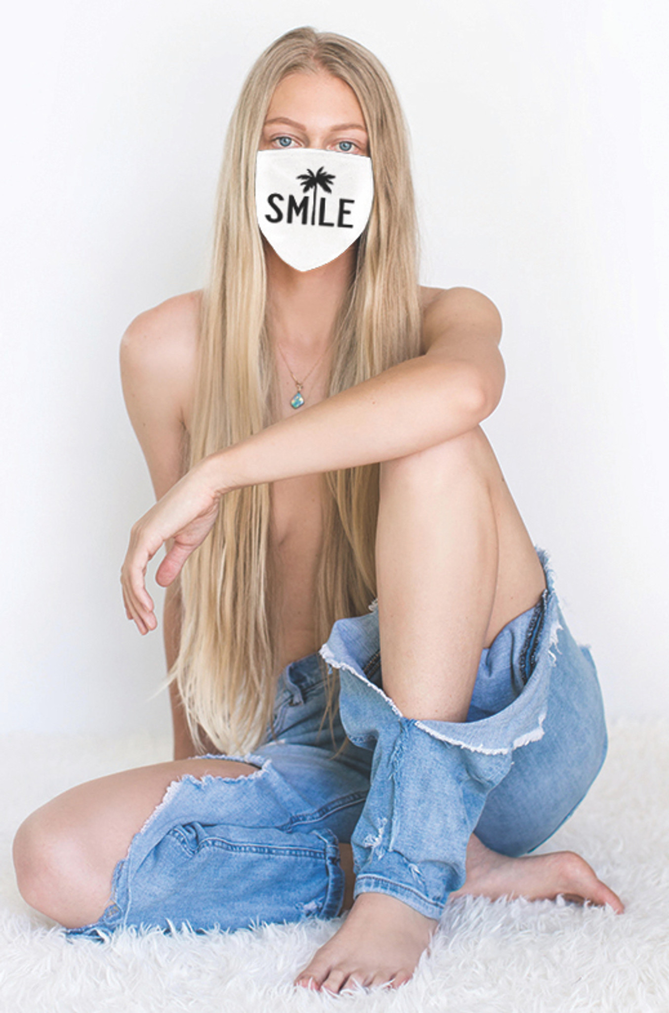 SMILE COTTON FACE MASK (White)
