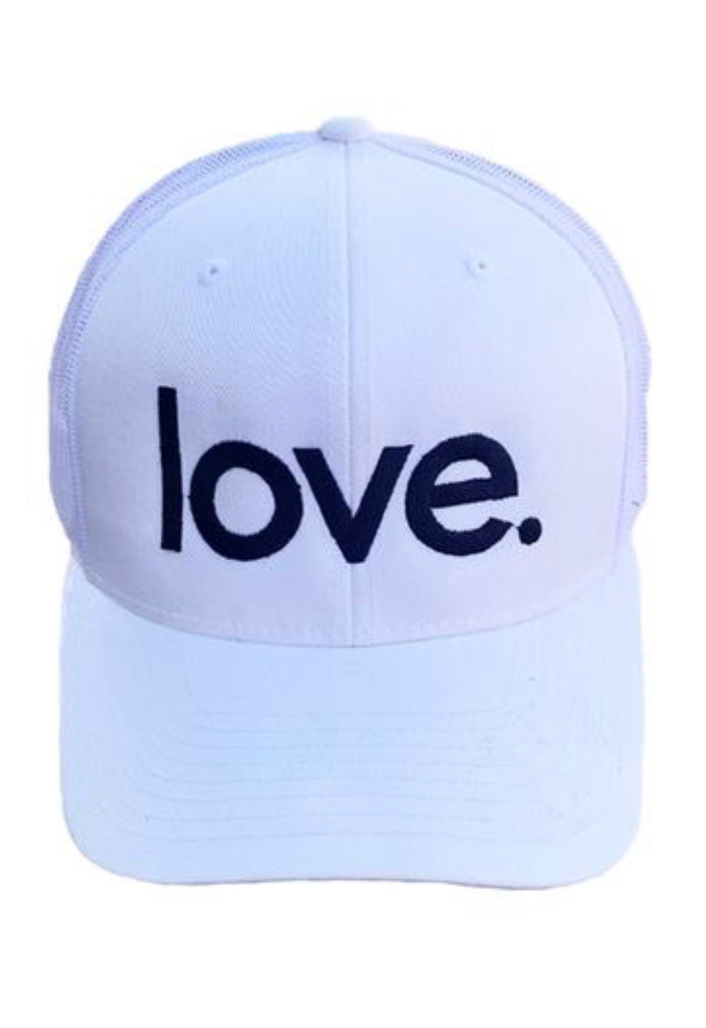 LOVE. EMBROIDERED TRUCKER HAT (White)