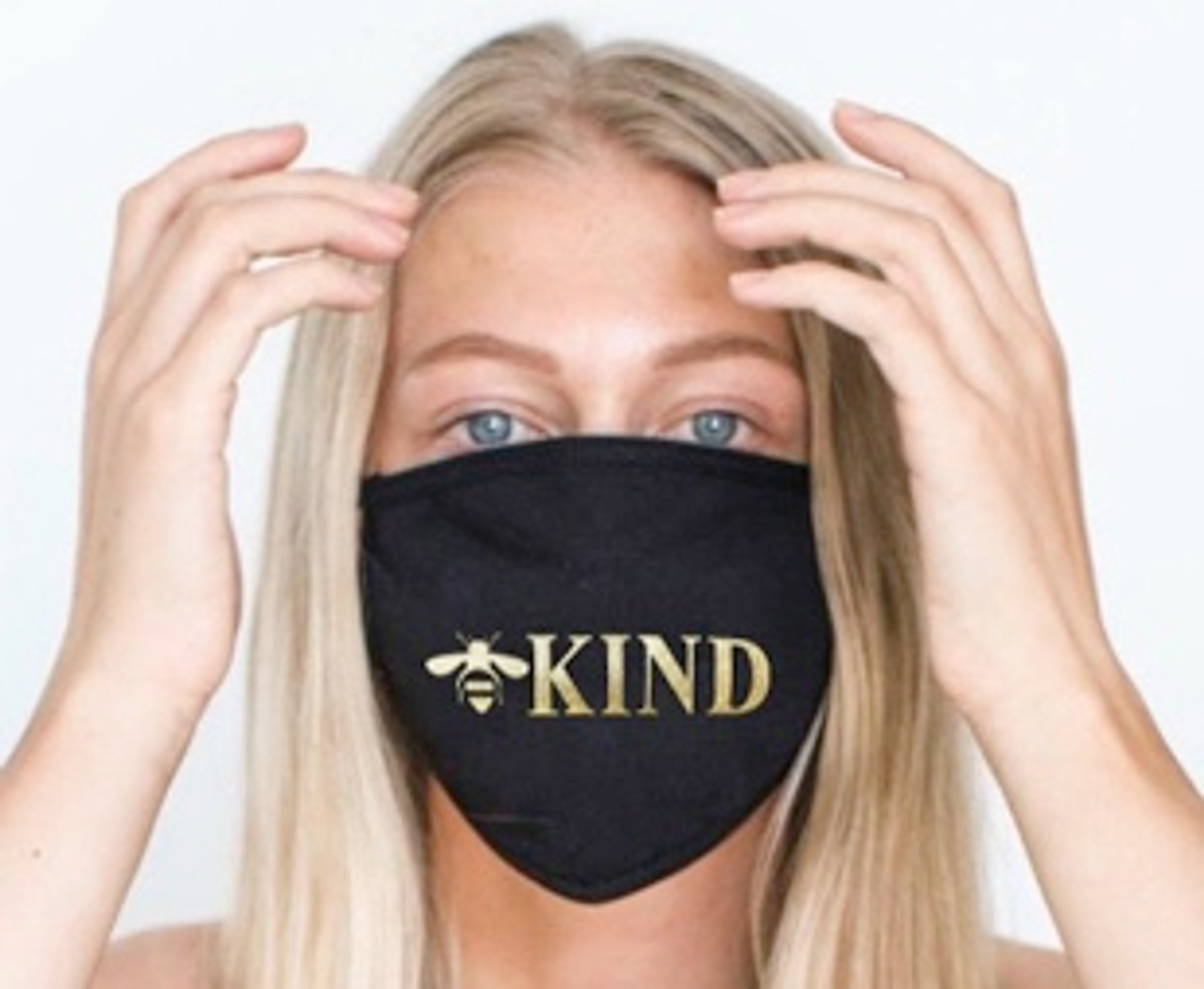 BEE KIND COTTON FACE MASK (Black w/ Gold)