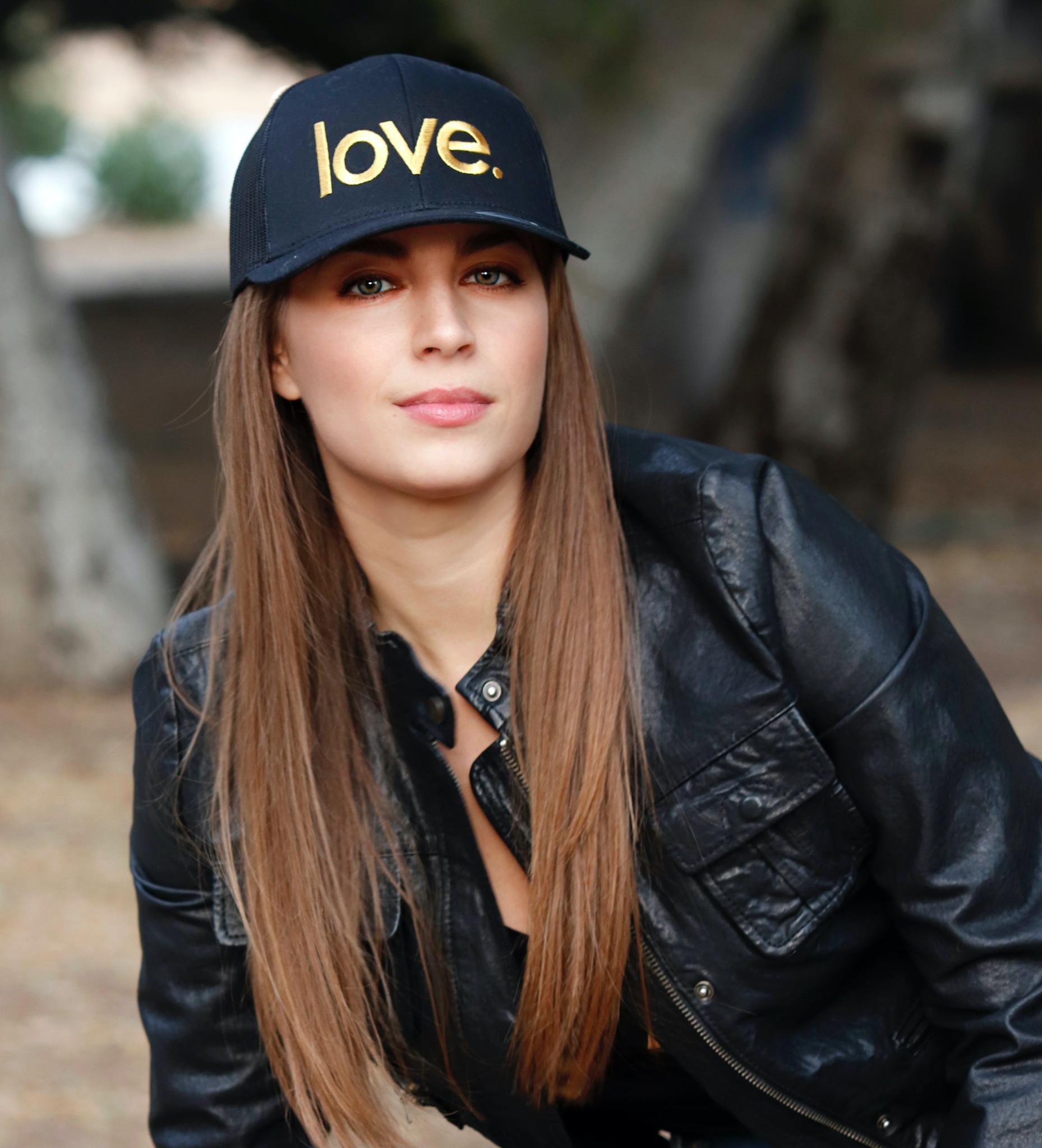 LOVE. EMBROIDERED TRUCKER HAT (Black/Gold)