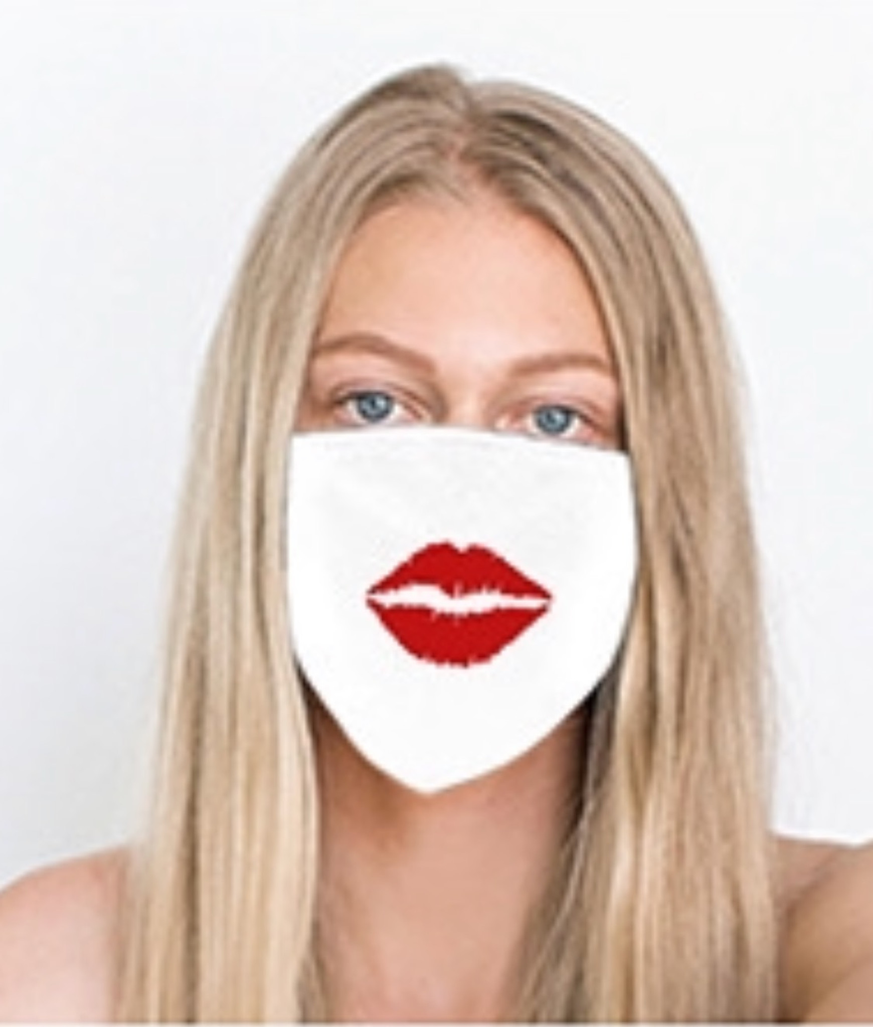 LIPS COTTON FACE MASK (White w/ Red)