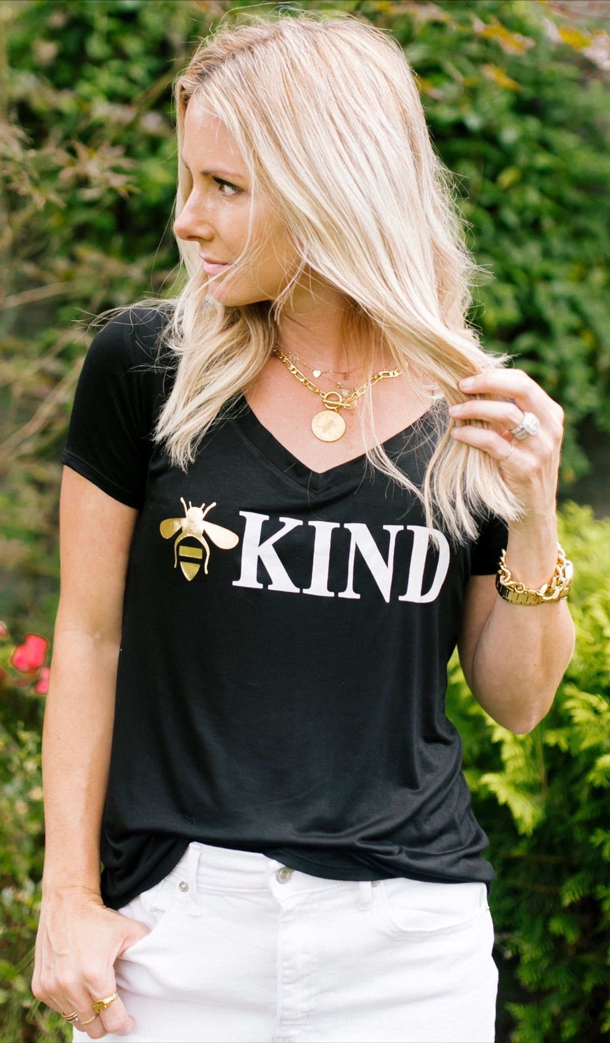 BEE KIND S/S  V-NECK TEE with a 3 BEE'S GRAPHIC IN GOLD FOIL on BACK (Black)