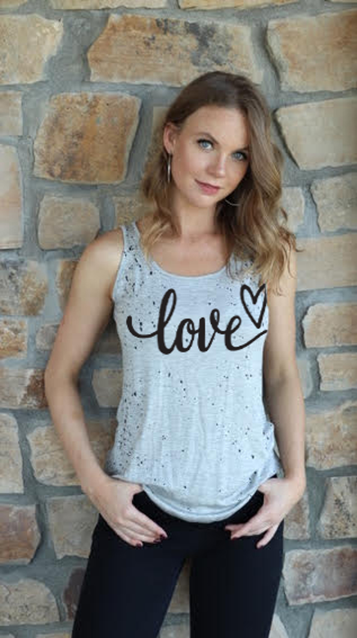 LOVE CURSIVE HAND SPLATTERED TANK WITH SCATTERED HEARTS ON BACK (GREY)