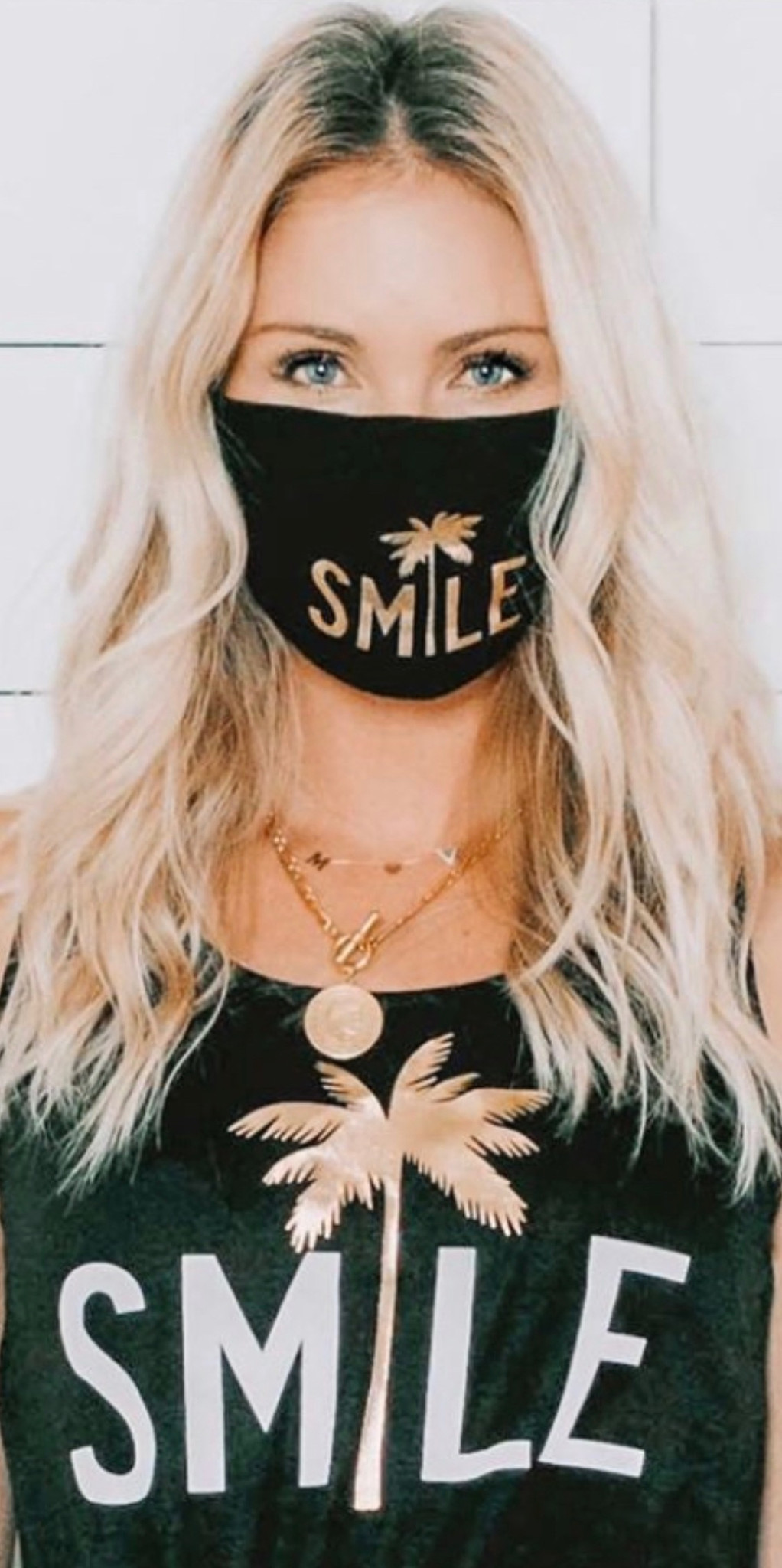 SMILE COTTON FACE MASK (Black w/ Gold)