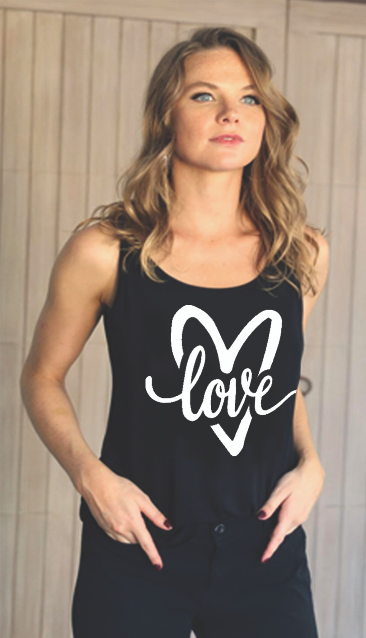 LOVE CURSIVE HEART TANK with Scattered Hearts on back (Black / White)