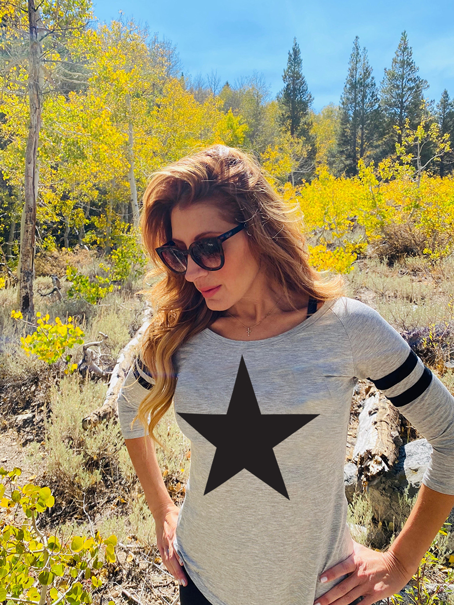 STAR BASEBALL TEE WITH 3 SMALL STARS ON BACK BELOW NECKLINE (Grey)