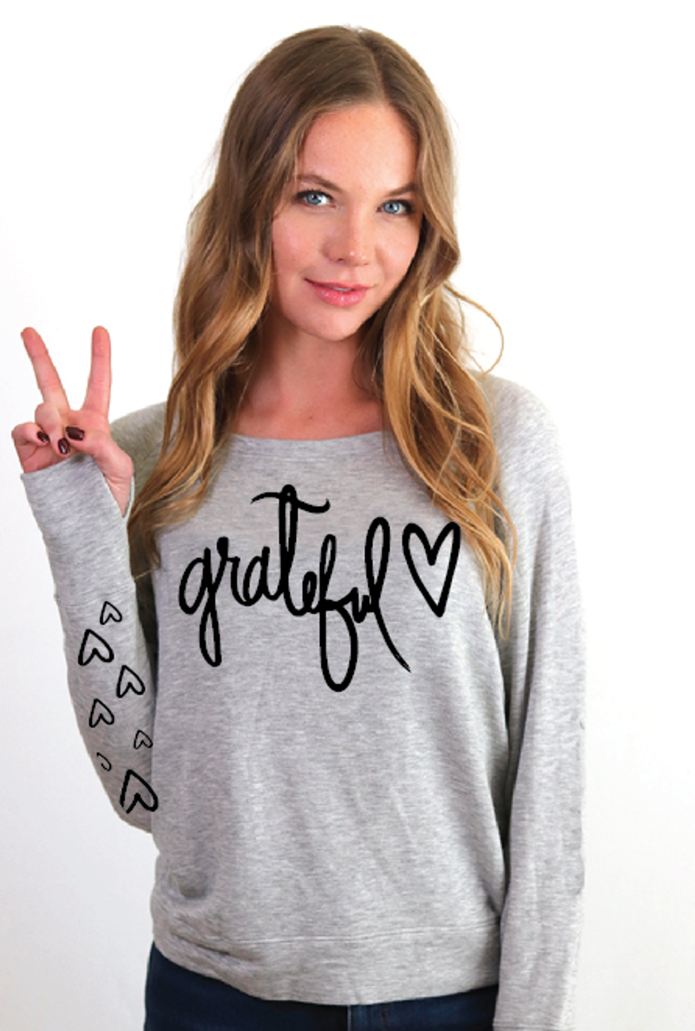 GRATEFUL HEART L/S FLEECE PULLOVER with  HEARTS on Arm (Grey)