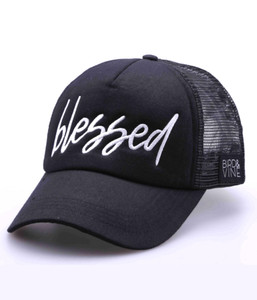 BLESSED EMBROIDERED TRUCKER HAT