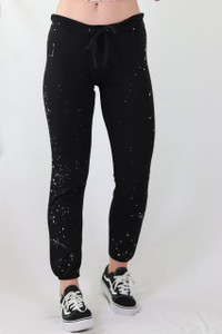 HAND SPLATTERED LIGHTWEIGHT FLEECE BLACK SWEAT PANT
