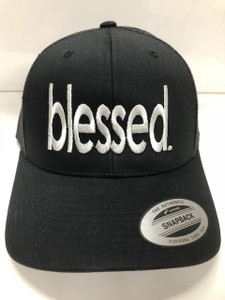 BLESSED. EMBROIDERED TRUCKER HAT