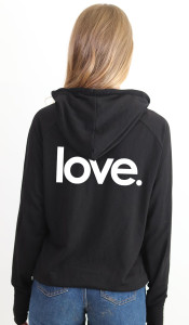LOVE. LIGHTWEIGHT FLEECE ZIP HOODIE