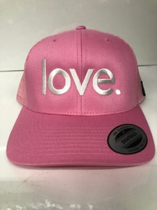 LOVE. EMBROIDERED TRUCKER HAT PINK