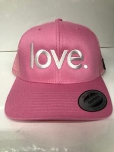 LOVE. EMBROIDERED TRUCKER HAT PINK