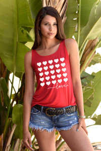 5 ROW HEARTS TANK with 3 Hearts on back. (Red)