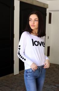 LOVE. WHITE L/S OTS TOP