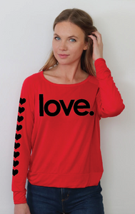 LOVE. RED  L/S OTS TOP