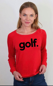 GOLF. L/S OTS TOP with EAT, SLEEP, GOLF REPEAT on back (Red)