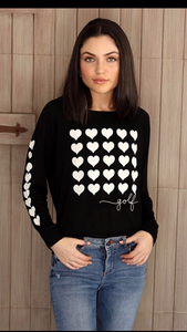 GOLF 5 ROW HEARTS L/S OTS TOP with HEARTS on Arm (Black)