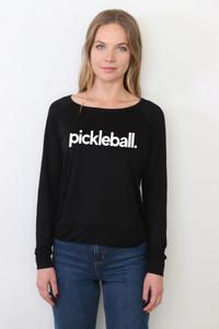 "PICKLEBALL.  L/S OTS TOP with ""EAT, SLEEP, PICKLEBALL REPEAT"" ON BACK (Black)"