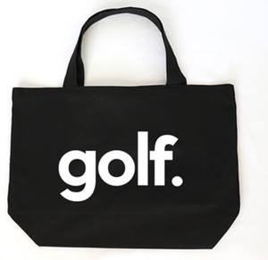 "GOLF. BLACK CANVAS TOTE with ""EAT, SLEEP, GOLF, REPEAT"" on back."