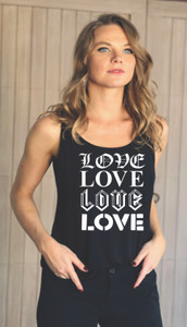 4 FONT LOVE TANK with 3 Hearts on back (Black)