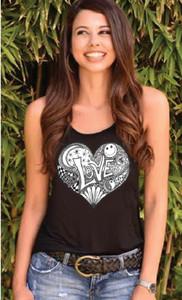 HEART ART TANK with ART on back (Black)