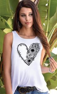 HEART FLOWER ART OPEN BACK SWING TANK with ART on back (White)