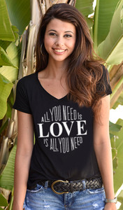 LOVE IS ALL YOU NEED S/S  V-NECK TEE with a 3 HEARTS GRAPHIC on BACK (Black)