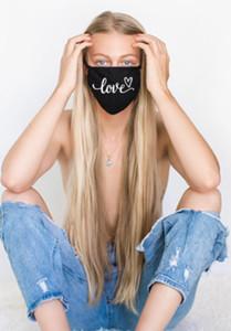 LOVE CURSIVE COTTON FACE MASK (Black)