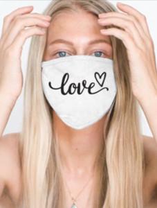 LOVE CURSIVE COTTON FACE MASK (White)