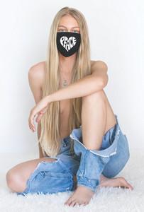 HEART PEACE COTTON FACE MASK (Black)