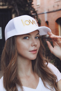 LOVE. EMBROIDERED TRUCKER HAT (White/Gold)