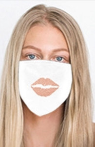LIPS COTTON FACE MASK (White w/ Rose)