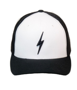 LIGHTNING BOLT EMBROIDERED TRUCKER HAT (Black / White)