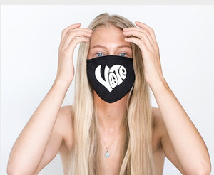 VOTE HEART WITH PEACE SIGN COTTON FACE MASK (Black)