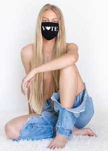 """VOTE WITH HEART AS """"O"""" COTTON FACE MASK (Black)"""