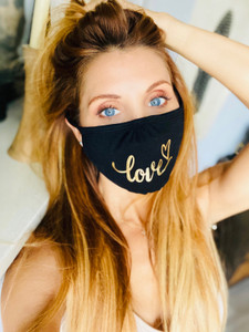 LOVE CURSIVE COTTON FACE MASK (Black w/ Gold)