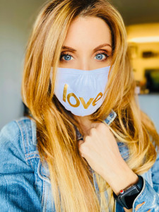 LOVE COTTON FACE MASK (White w/Gold)