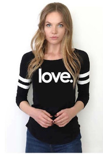 LOVE. BASEBALL TEE WITH 3 SMALL HEARTS ON BACK BELOW NECKLINE (Black)