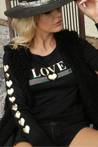 LOVE GUCCI WITH GUCCI INSPIRED STRIPE L/S FLEECE PULLOVER with GOLD FOIL HEARTS on Arm (Black)