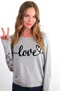 LOVE CURSIVE  L/S FLEECE PULLOVER with  HEARTS on Arm (Grey)