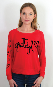 GRATEFUL HEART L/S TEE with HEARTS on Arm. (Red)