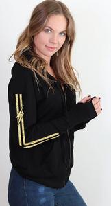 BOLT GOLD FOIL LIGHTWEIGHT FLEECE ZIP HOODIE with GOLD FOIL STRIPE AND BOLT on Arm (Black)