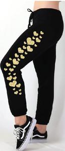 GOLD FOIL HEARTS LIGHTWEIGHT FLEECE BLACK SWEAT PANT (JOGGER)