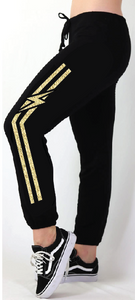 GOLD FOIL STRIPED BOLT LIGHTWEIGHT FLEECE BLACK SWEAT PANT (JOGGER)