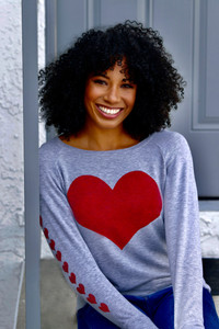 BIG HEART LIGHTWEIGHT FLEECE SWEATSHIRT (Grey)