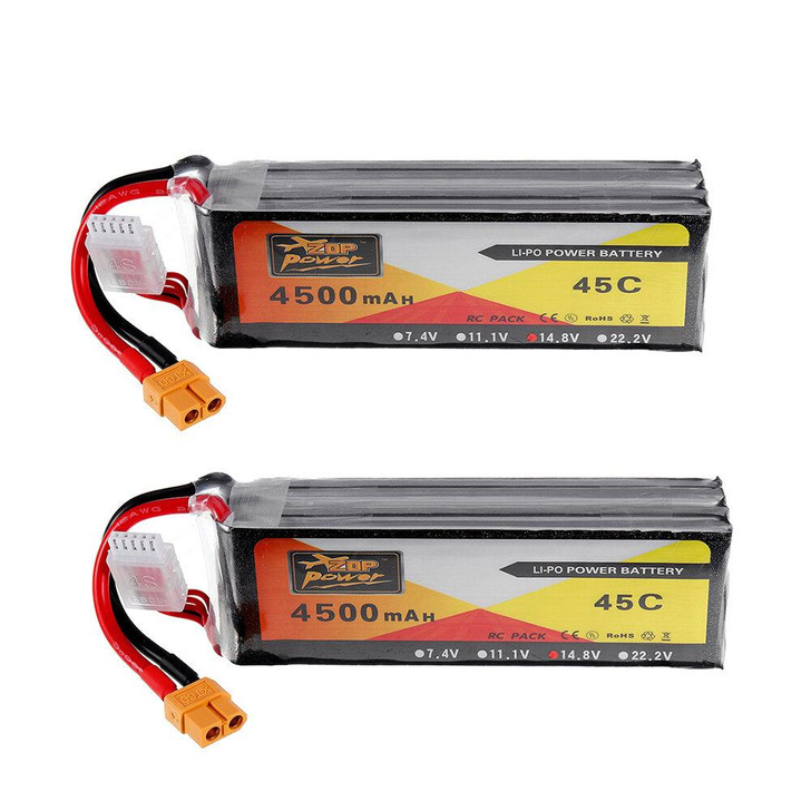 2Pcs ZOP Power 14.8V 4500mAh 4S 45C Lipo Battery XT60 Plug