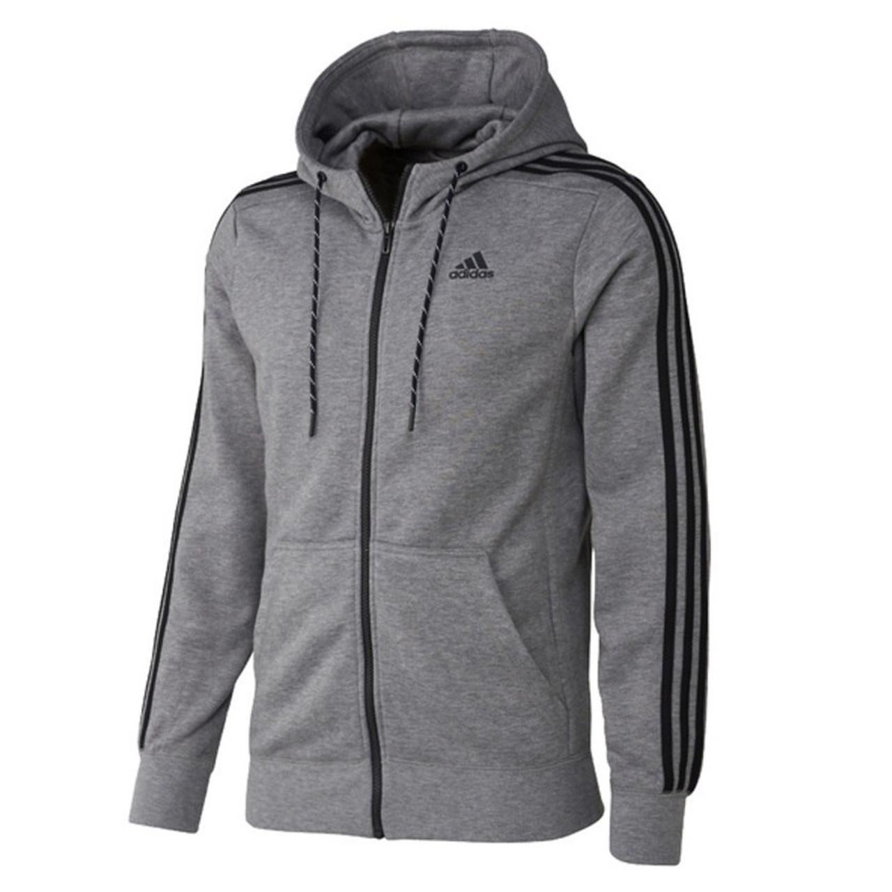 Adidas Essentials 3 Stripe FZ Hoodie S17875 Grey, Black